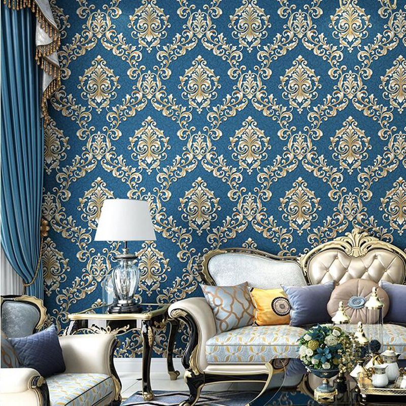 Wall Coverings Modern Embossed Wallpaper Beige Blue European Victorian Damask 3D Texture Wall Paper For Bedrom Living Room Decor