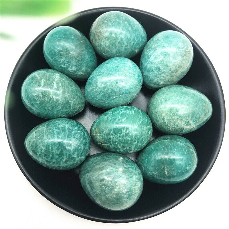 1PC Natural Polished Amazonite Crystal Egg Shaped Stone Specimen Healing Decoration Natural Stones And Minerals