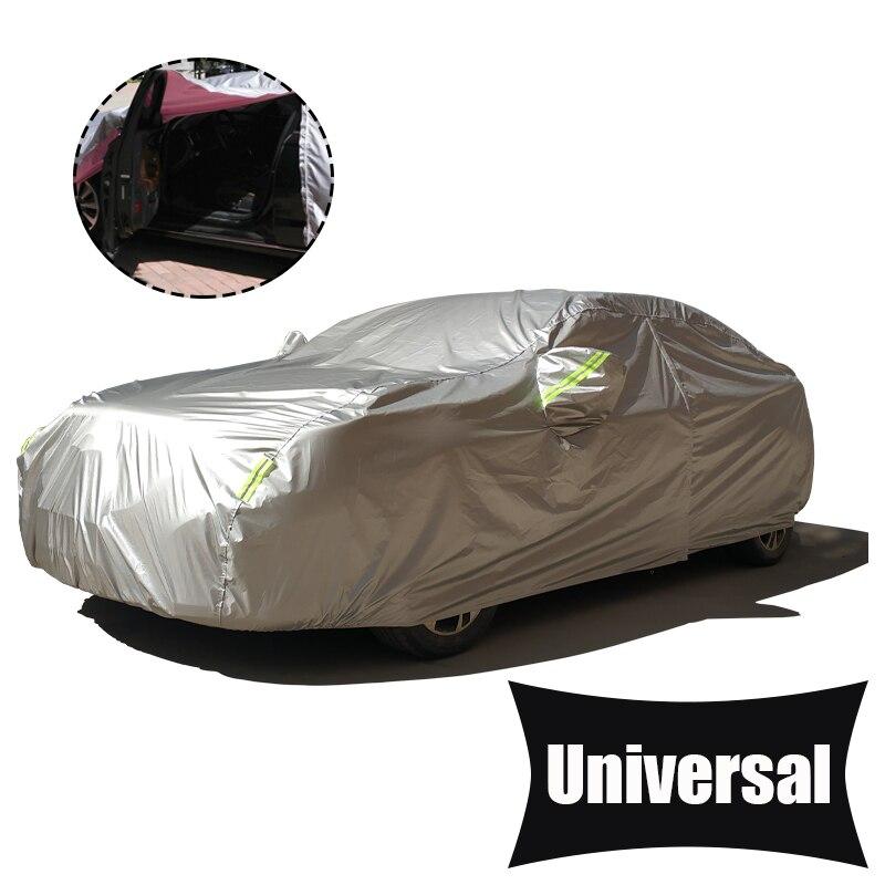 Porte latérale ouverte bâche de voiture étanche 190T Polyester couvre Auto universel bâche de voiture Protection solaire argent couverture voiture SUV berline