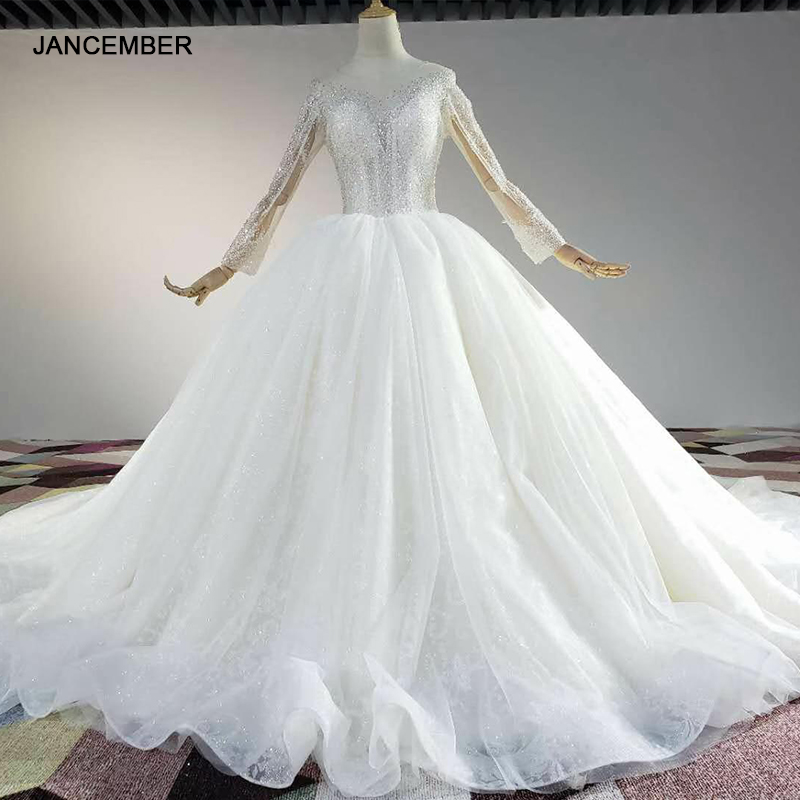 HTL1841 White Sequined Beading Wedding Dress 2020 Long Sleeve Applique Ball Gowns O-Neck Lace Up Back 1