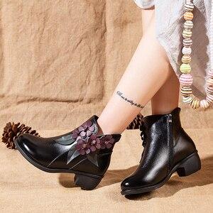 Image 5 - 2020 botas de inverno botas femininas vintage couro genuíno sapatos de salto baixo sapatos de dedo do pé redondo moda senhoras tornozelo botas para mulher