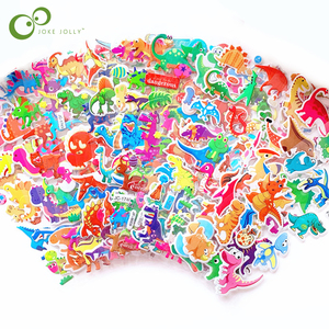 6 Sheets 3D Dinosaur Stickers for Kids Toys Home Wall Decor Cartoon Mini Sticker Scrapbooking Kids Notebook Diary Label GYH