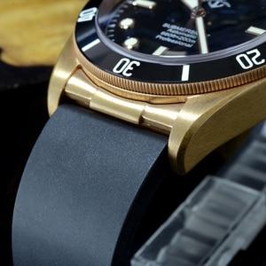 Image 3 - Cronos Hruodland Brons Duiken Mannen Horloge Mechanische Rubber Band Keramische Top Ring Saffier Kristal Gratis Lederen Band BGW9 Blauw