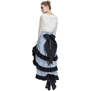 Image 4 - Belle Poque Retro Women Vintage Stripe Gathered Steampunk Gothic Punk Bustle Irregular high low Skirt Fashion midi Skirt Elastic