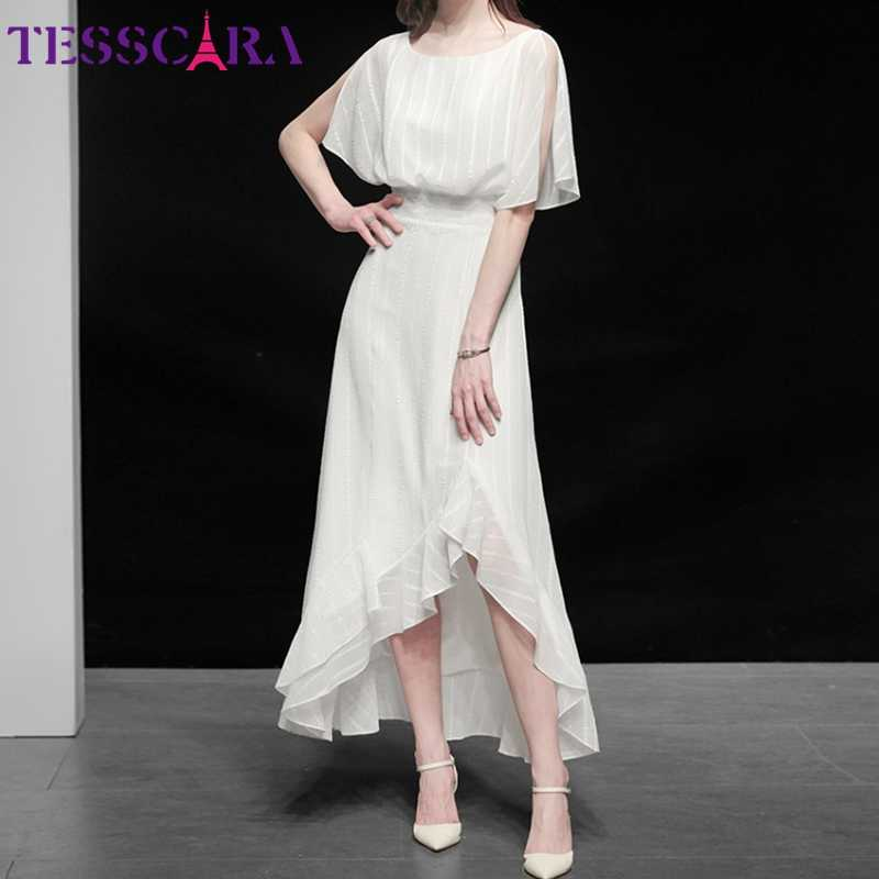 TESSCARA Donne Vestito Bianco Elegante Festa di Alta Qualità Da Sposa Del Partito di Cocktail Veste Femme Asimmetrico Del Progettista Chiffon Abiti