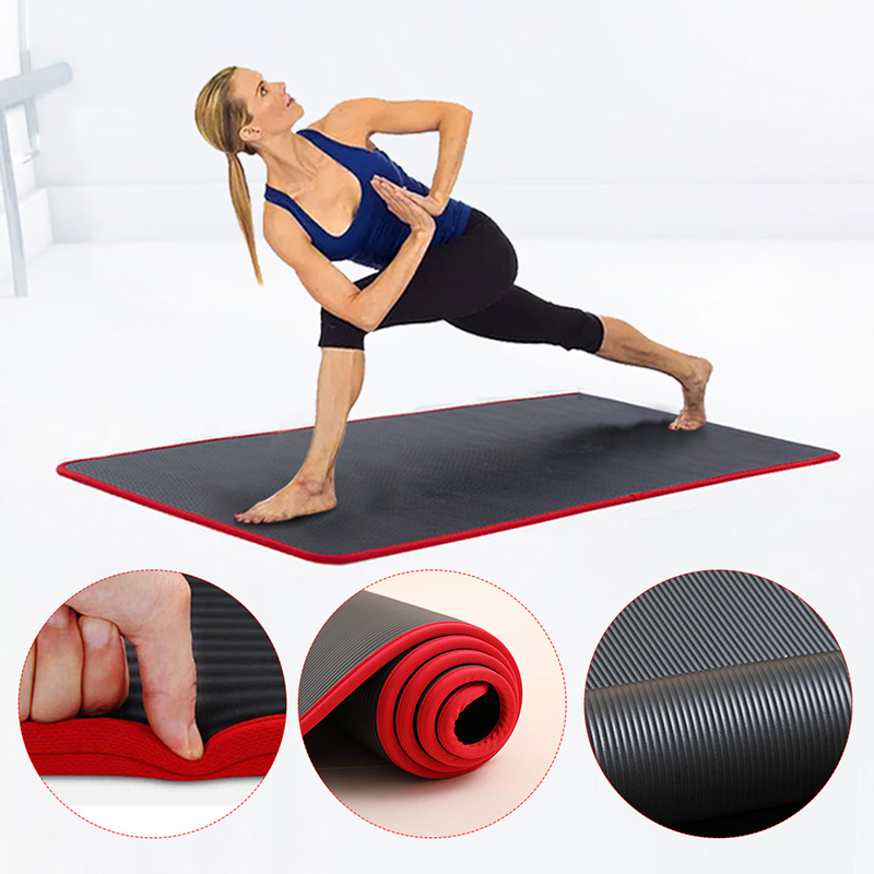 10MM Extra Thick 183cmX61cm High Quality NRB Non slip Yoga Mats For Fitness Tasteless Pilates Gym Exercise Pads with Bandages|Yoga Mats| - AliExpress