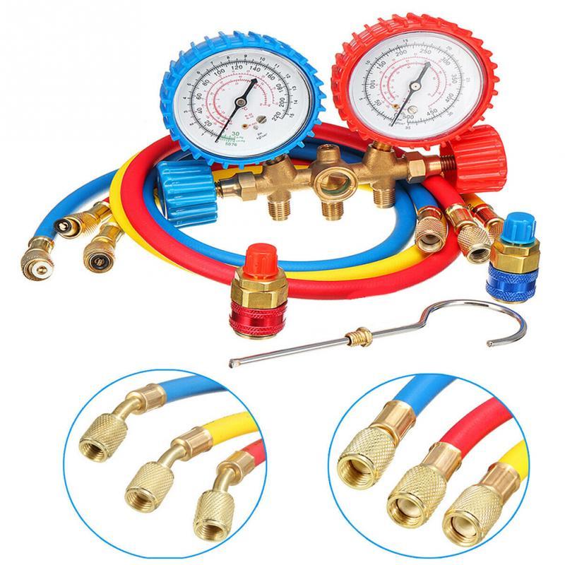 R12 R22 R134A R502 HVAC A//C Refrigeration Kit AC Manifold Gauge Set Auto Service
