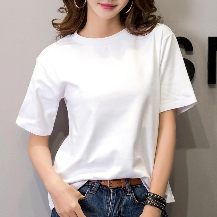 2020 Women's T-shirt Female Short-sleeved Slim Solid Color Simple Pure Women's T-shirt Female Cute Harajuku Women's T-shirt