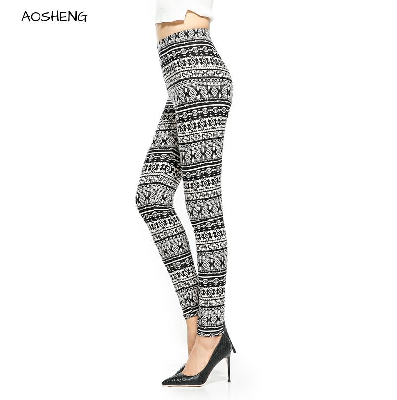 Aztec Printed Leggings Women Black White Leggins Slim High Waist Leggings American Original Order