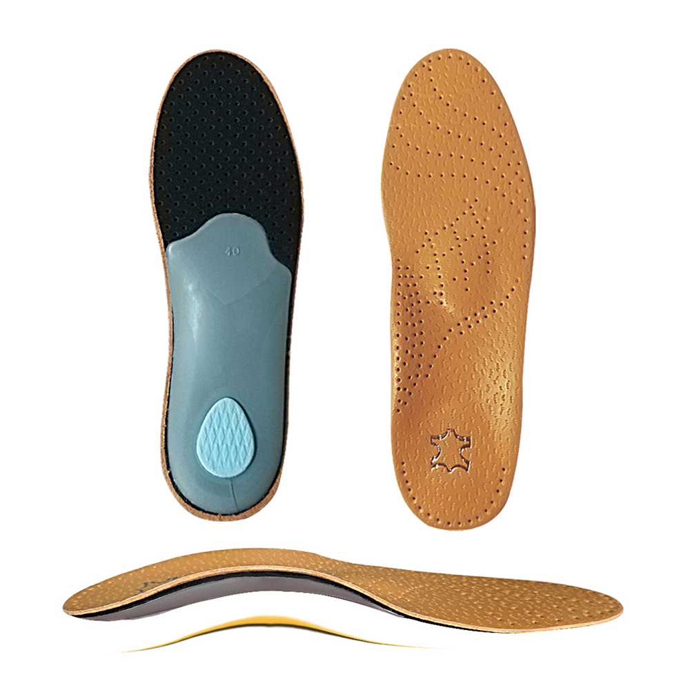 1 Pair Leather Latex Correction Insole Duck Foot Orthopedic Arch Support Odor-resistant Insoles Unisex Multiple Sizes Optional
