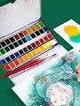 12/24/36/48 cores Sólidas Conjunto Tinta Aquarela Material Escolar Arte Pigmento Da Cor de Água Portátil para desenho Aquarela Paleta