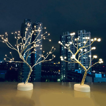 LED Night Light Mini Christmas Tree Copper Wire Garland Lamp Home Desktop Decoration Light Table Lamp Luminary Holiday Lighting