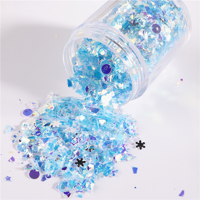 10g Irregular Shell Paper Paillettes Glitter Mix High Flash Crystal Sequins Colorful Flakes For 3D DIY Nail Art Decoration