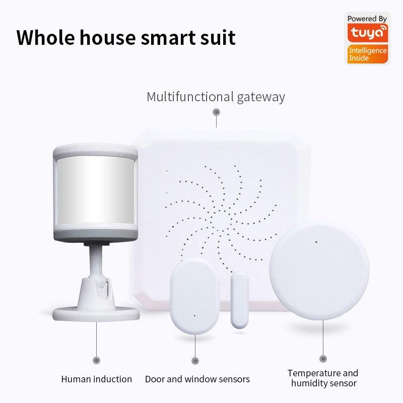 Tuya Zigbee Smart Gateway Hub Humidity Sensor Home Automation Scene Security Alarm Kit Zigbee 3.0 Security Sensor