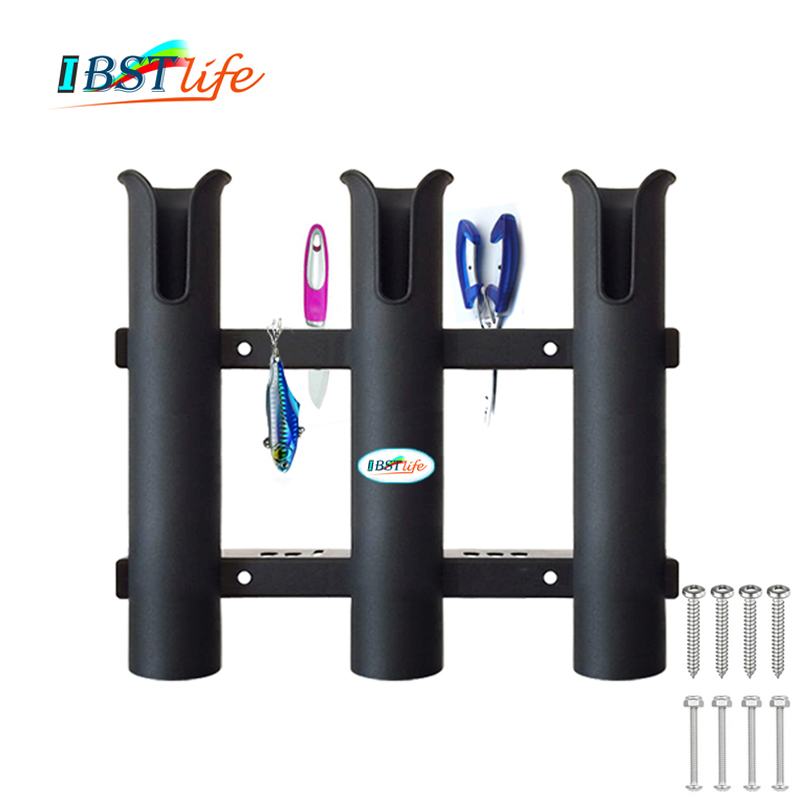 Marine Boat Yacht Kayak Fishing Vertical 3 Link Rod Holder Organiser Pole Tube Mount Bracket Socket Rack Lure Pliers Storage