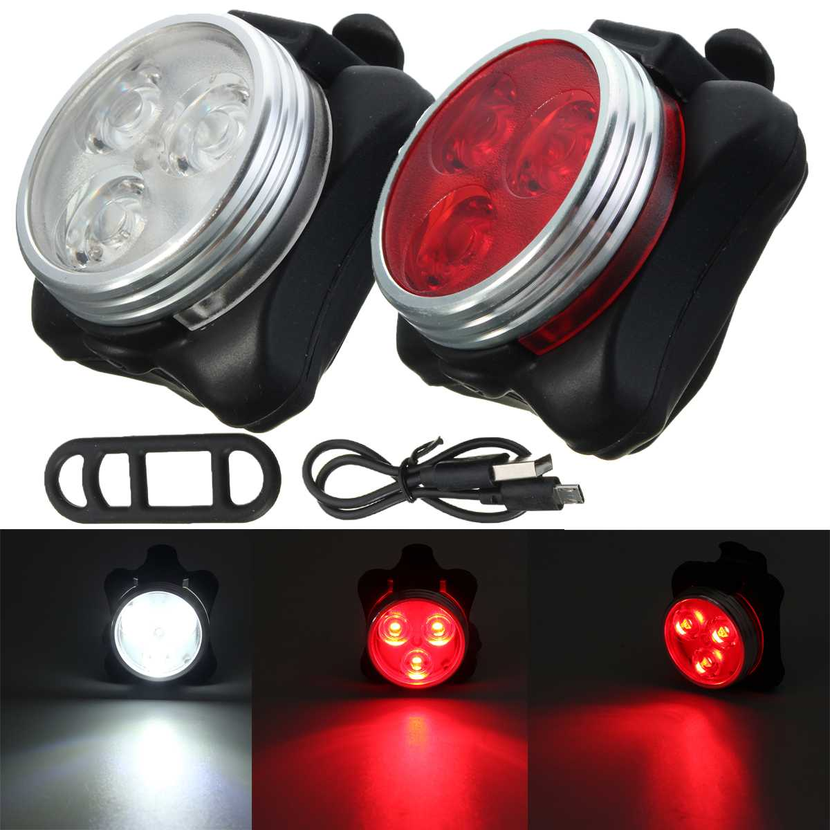 Outerdo Bicycle LED Front Light Taillight USB Rechargeable 3 LED Head Cycling Bike Front Rear Tail Clip Safe Warning Light Lamp