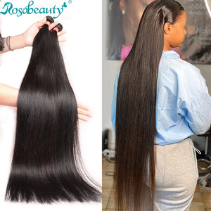 RosaBeauty 28 30 32 40 Inch Natural Color Brazilian Hair Weave 1 3 4 Bundles Straight 100% Remy Human Hair Extensions Weft deals(China)
