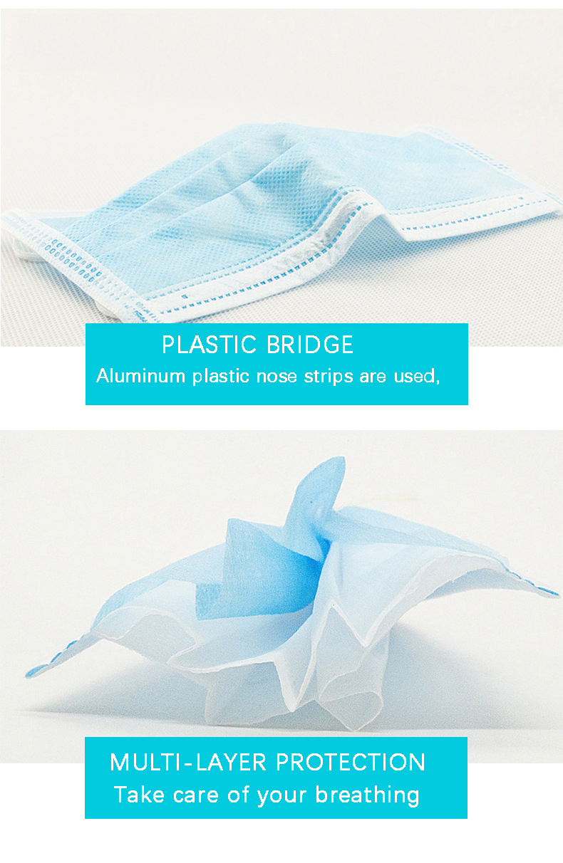 50Pcs/100pcs Mask Disposable Nonwove 3 Layer Ply Filter Mask mouth Face mask filter safe Breathable dustproof Protective masks 15