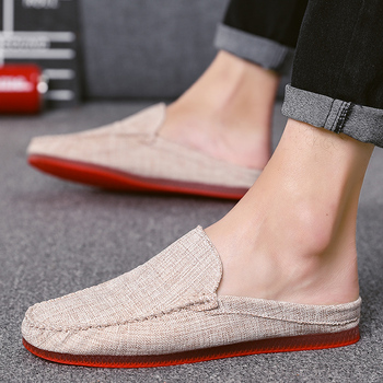 Spring/Autumn Half slippers Mens Anti Slip Luxury Brand Men Shoes Comfortable Casual Shoes Men Cheap Fashion Men Sneakers Black 2020 summer cool rhinestones slippers for male gold black loafers half slippers anti slip men casual shoes flats slippers wolf