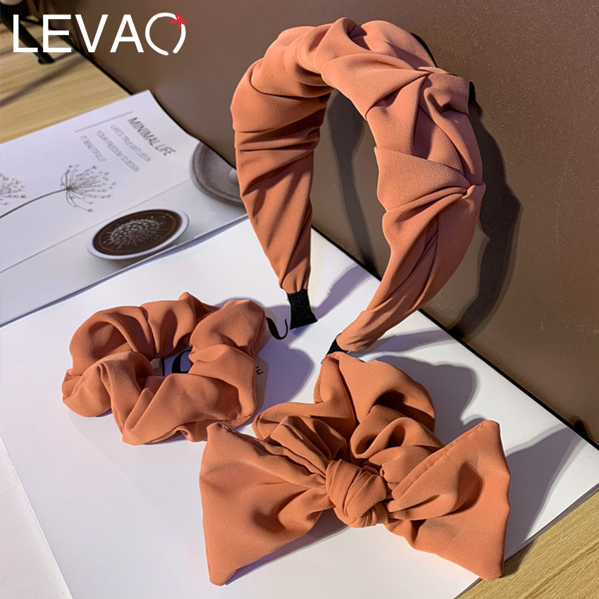 Levao 3PCS/Lot Hairband Hair Bow Headband Scrunchies Set Hair Accessories for Women Elastic Hair Bands Hoop Bezel Headwear