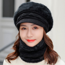 COKK Hat And Scarf Woman Winter Rabbit Fur Collars Sets For Women Beret Velvet Thickening Set Ladies & Windproof Warm