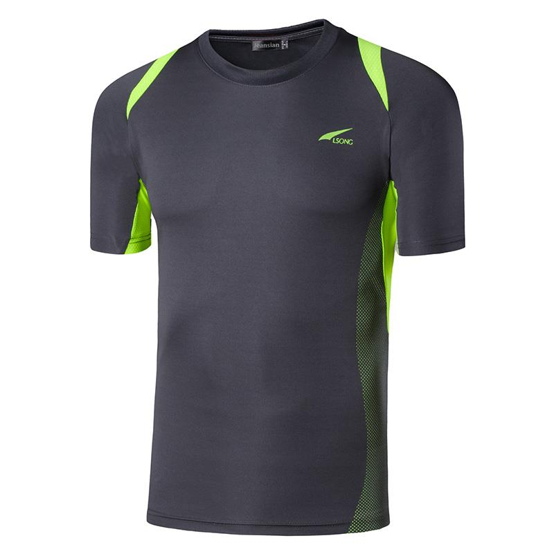 Jeansian Men 39 s Sport Tee Shirt Tshirt T shirt Running Gym Fitness Workout Football Short Sleve Dry Fit LSL601 Gray2 in T Shirts from Men 39 s Clothing