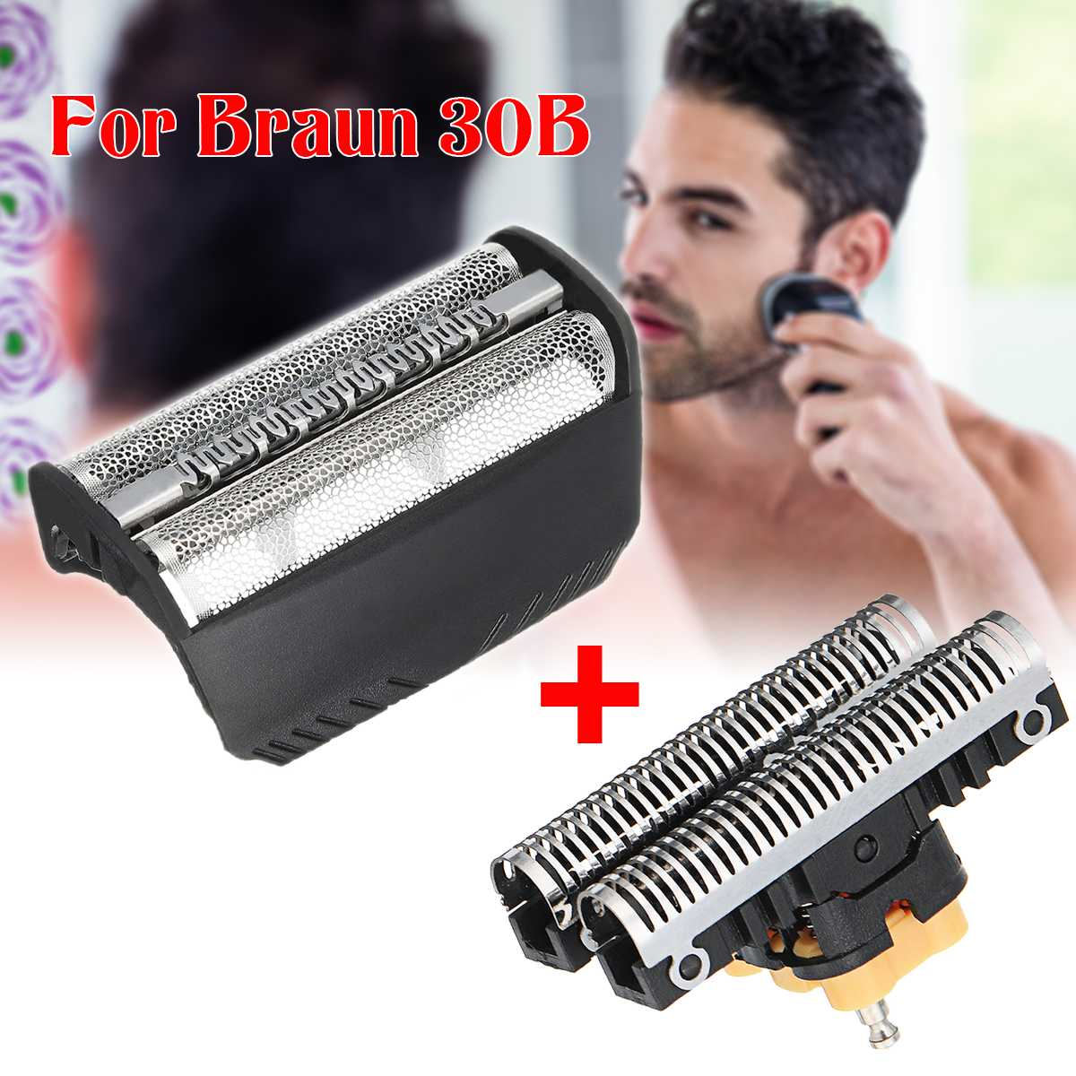 2pcs/set Replacement Shaver Foil + Cutter Blade for BRAUN 30B 310 330 340 4735 4736 4737 5491 5492 5746 7475 7493 7516 Razor