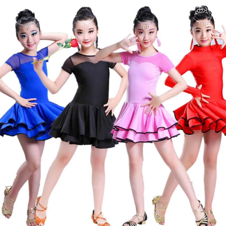 Dancing Dresses For Kids Salsa Tango Tutu Skirts Children Latin Dance Dress For Girls Short/Full Sleeve Vestidos Dance Costume