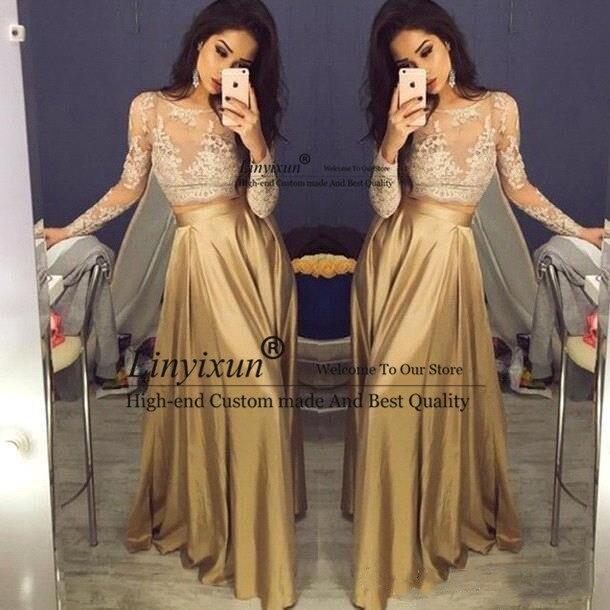 Красивое кружевное платье с круглым воротником и длинным рукавом Золото из двух частей платья выпускного вечера атласные дешевые платья на...