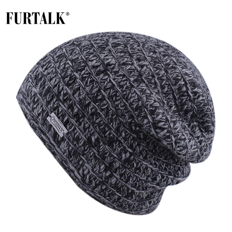 FURTALK Winter Hat Men Beanie Hat Knitted Slouchy Beanies Skullies Winter Black Grey Man Cap
