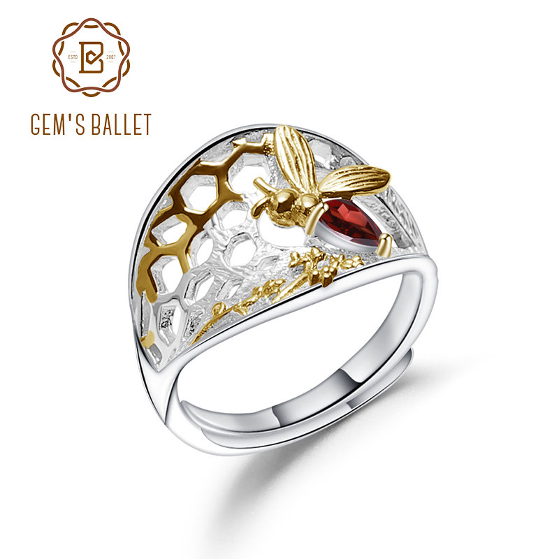 GEM'S BALLET Bee's Honey Collection Ring 925 Sterling Silver 0.28Ct Natural Garnet Gemstone Handmade Ring For Women Fine Jewelry