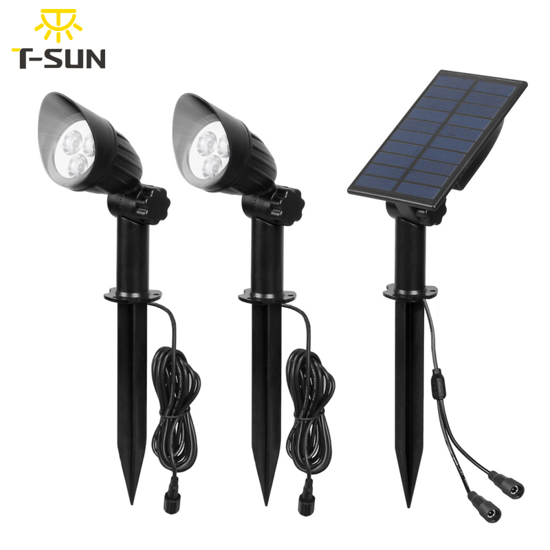T SUNRISE Cap Spot Lamp 3/7 LED Two Solar Motion Light Outdoor Garden Light Cold White Separately Installed Wall Light IP65