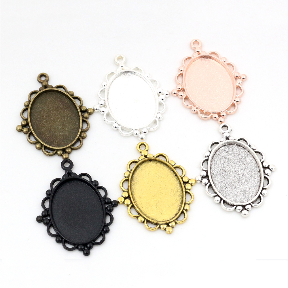 10pcs 18x25mm Inner Size 6 Colors Classic Style Cameo Cabochon Base Setting Charms Pendant Necklace Findings
