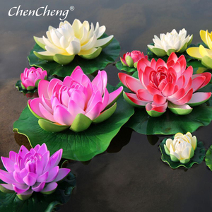 CHENCHENG 1 Piece Artificial Lotus Water Lily Floating Flower Pond Tank Plant Ornament Home Garden Pond Decoration(China)