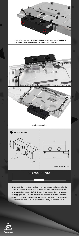 Barrowch FBQTS, Digital Display Temperature Bridges, Mirror Edition, For Barrow's GPU Blocks