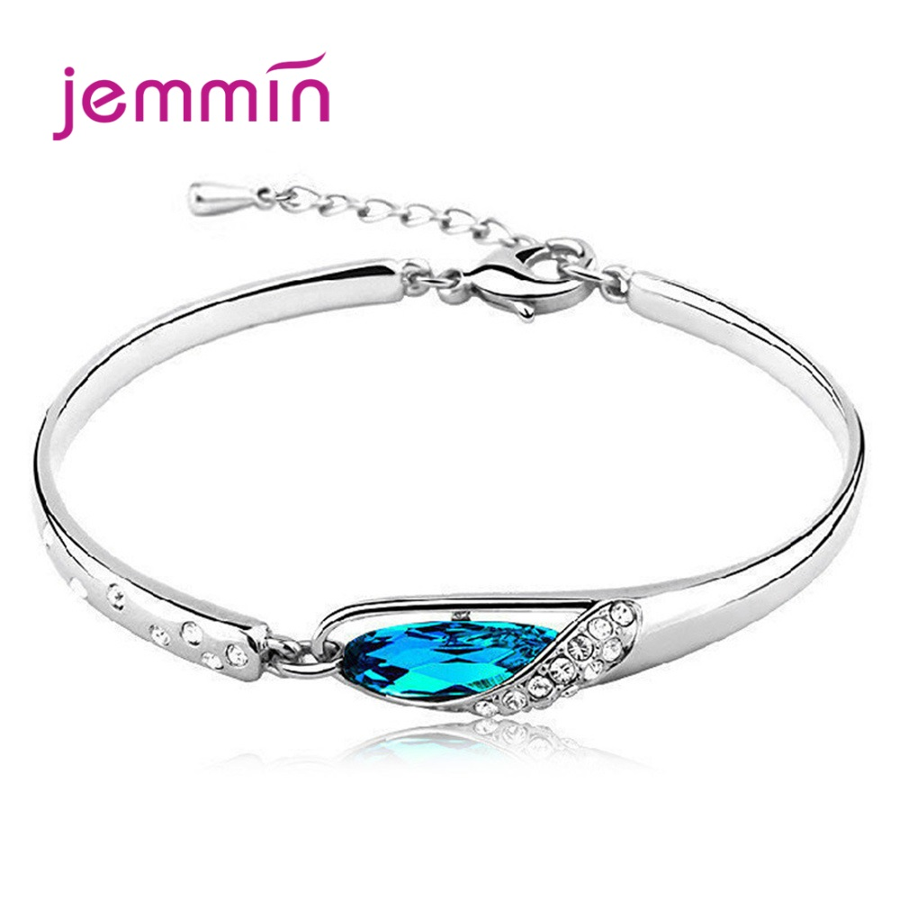 High Quality Rhinestone Crystal Glass Shoes Bracelets & Bangles Fashion 925 Sterling Silver Jewelry For Women Bracelet Femme