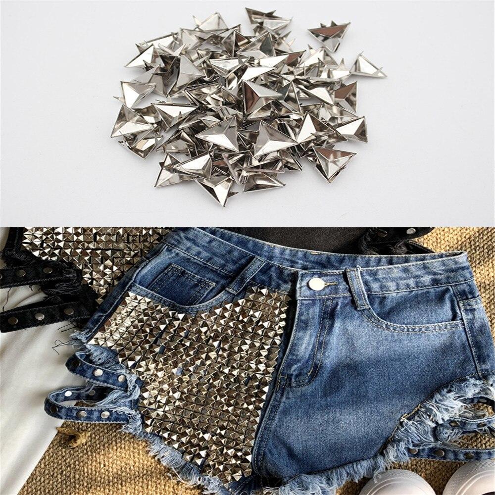 100Pcs/lot Punk Rock 15mm Silver Triangle Rivets Spike Studs Bag Belt Leathercraft Clothes DIY Accessories Craft