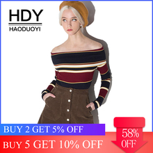HDY Haoduoyi Apparel Fashion Women Sweater Female Sweet Multicolor Stripe Off Shoulder Pullovers Ladies Sexy Casual Tops