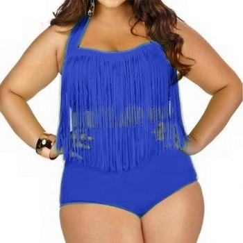 HOT Sale Plus Size Split Swimsuit Women Sexy Retro Padded Push Up Tassel High Waist Swimsuit Female biqiuni Bathing Suit 15