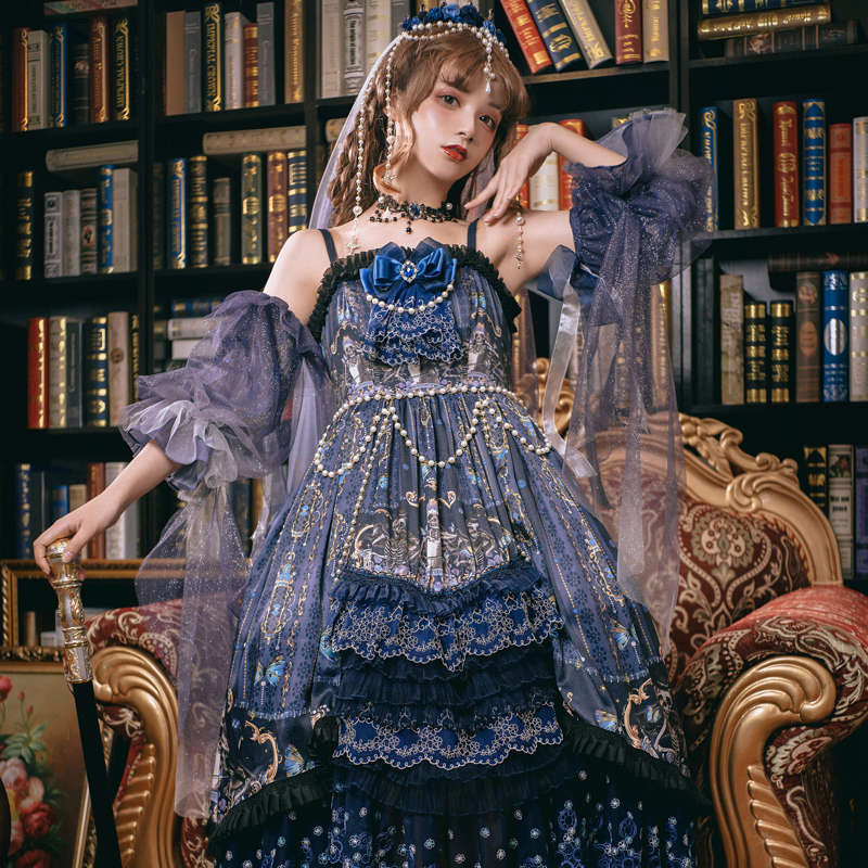 Gothic palace tea party sweet lolita dress vintage lace bowknot printing victorian dress kawaii girl gothic lolita op loli cos