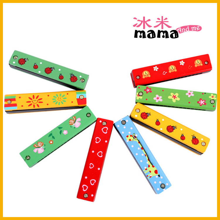 Wooden Toy Harmonica Orff Children Wind Instruments Harmonica 16 Buckle Double Row Multi-color Coloured Drawing Vocal Music Toy