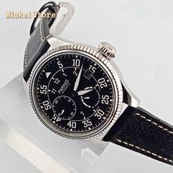Parnis męski luksusowy zegarek mechaniczny 45mm czarna tarcza data skórzana mewą 2530 rezerwa chodu mechanizm automatyczny zegarki męskie w Zegarki mechaniczne od Zegarki na
