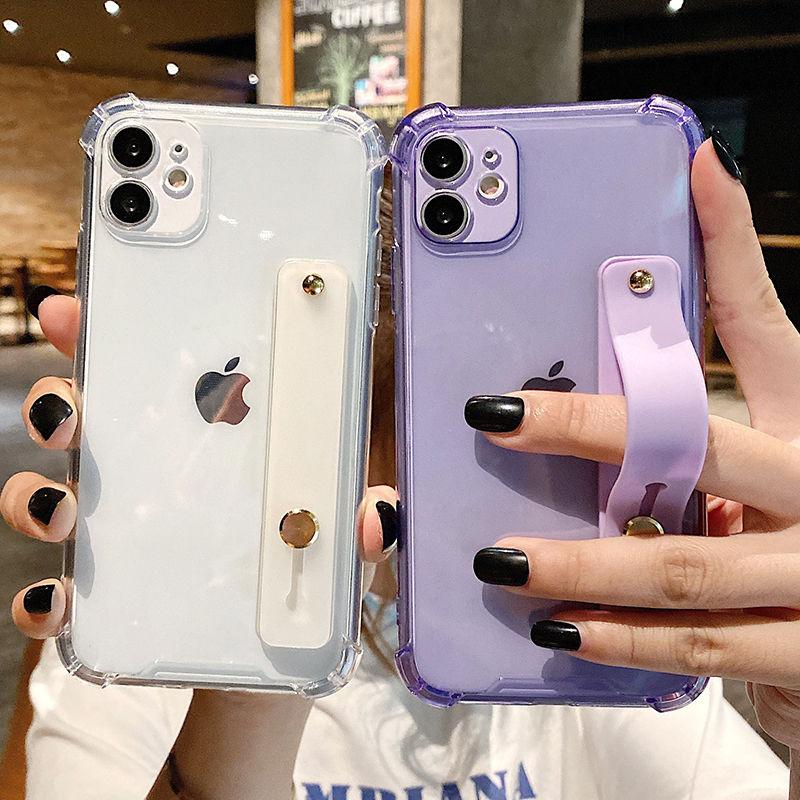 Custodia per telefono trasparente con cinturino da polso per iPhone 11 11Pro Max XR XS Max X 7 8 Plus 11Pro 12 Pro Cover posteriore morbida a colori fluorescenti 2