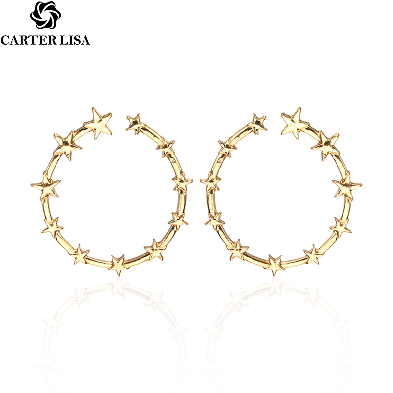 CARTER LISA Classical Geometric Circle Earrings For Women Star Stud Earrings Silver Gold Round Earrings Female Small Brincos