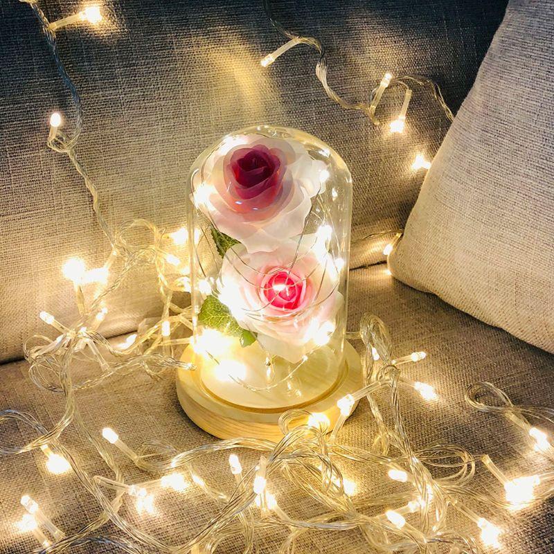Enchanted Forever Rose Flower In Glass LED Light Wedding Xmas Decor Lover Gift
