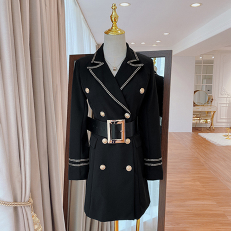 HIGH STREET 2020 Runway Designer Dress Women's Top Stitching Contrasting Notched Collar Belted Dress