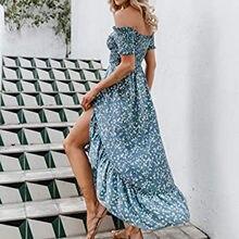 Robe Sexy En Mousseline De Soie femmes Décontracté Impression Florale/Cou Manches Courtes Fendu Robe Longue robes longues verser Women
