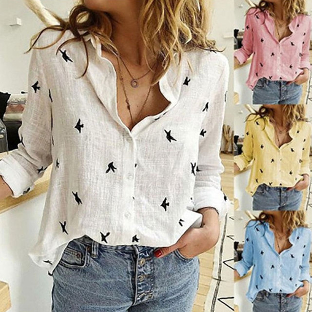 Vintage Streetwear Tee - Casual Long Sleeve Birds Print Loose Shirts Women Oversized Cotton and Linen 6