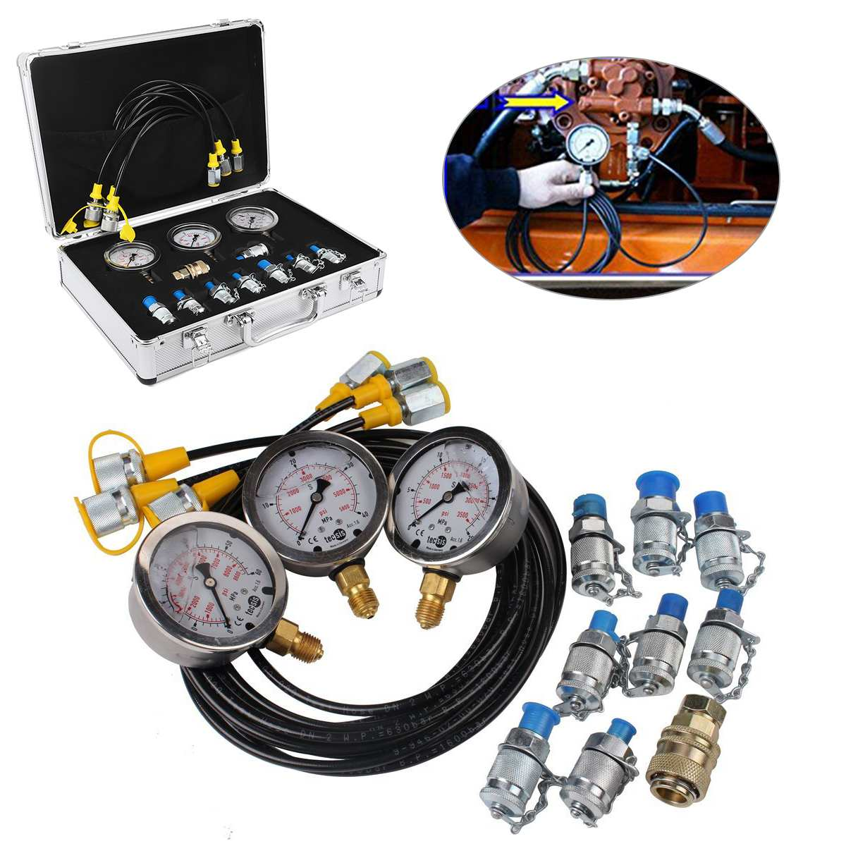 1 Set Excavator Hydraulic Pressure Gauge Test Kit Professional Hydraulic Measuring Toolbox For Hydraulic Presses Machinery