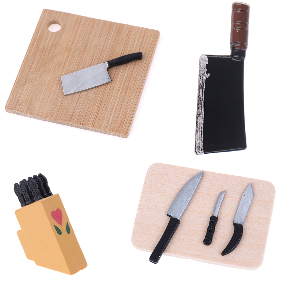 1:12 Knife Tool Kit On The Wood Kitchen Breakfast Scene Bread Flour Cake Knife Chopping Block Dollhouse Furniture Toys